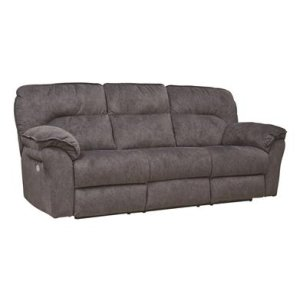 Double Reclining Power Headrest Sofa with Dropdown Table