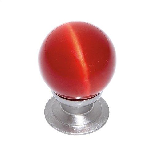 Satin Nickel 30 mm Red Cat's Eye Knob