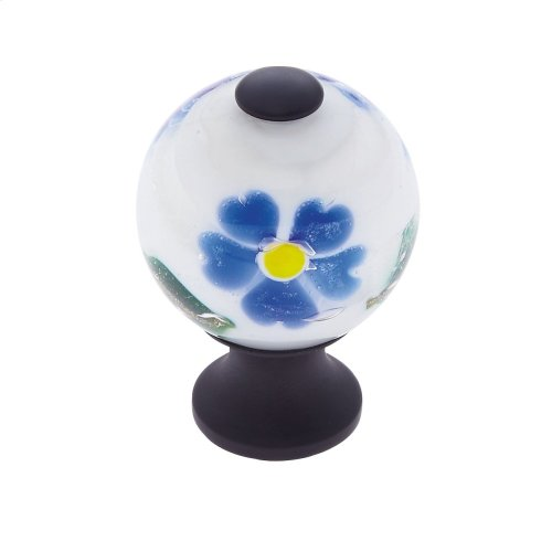 Oil Rubbed Bronze 30 mm White Knob w/Flowers