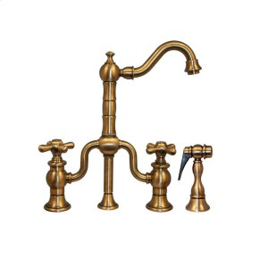 Twisthaus entertainment/prep bridge faucet with a short traditional swivel spout, cross handles, and a solid brass side spray. Product Image