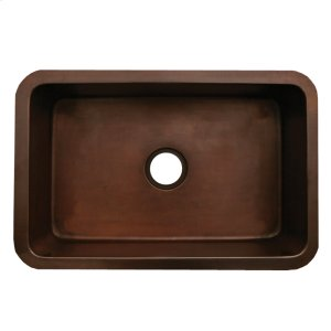 "Copperhaus rectangular undermount sink with a smooth texture and a 3 1/2"" center drain - 14 gauge copper sink. Product Image"