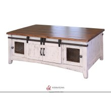Storage Coffee Table with 2 Sliding Doors