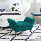 Response Upholstered Fabric Ottoman in Teal Product Image