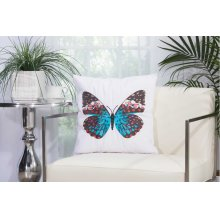 "Outdoor Pillow L2791 White 18"" X 18"" Throw Pillow"