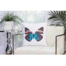 """Outdoor Pillow L2791 White 18"""" X 18"""" Throw Pillow"""