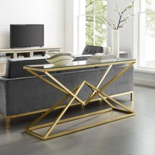 """Point 59"""" Brushed Gold Metal Stainless Steel Console Table in Gold"""