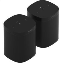 Black- A pair of powerful microphone-free speakers for music and more in up to two rooms.