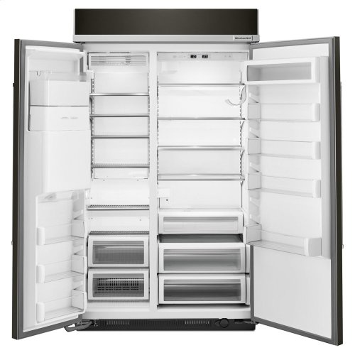 29.5 cu. ft 48-Inch Width Built-In Side by Side Refrigerator with PrintShield™ Finish - Black Stainless
