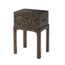 The Floral Painted Box Accent Table - Black Chinoiserie Painting