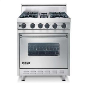 "Stainless Steel 30"" Open Burner, Dual Fuel Range - VDSC (30"" wide range with four burners, single oven)"