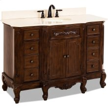 """50-1/4"""" vanity with Nutmeg finish, carved floral onlays, French scrolled legs, and preassembled top and bowl"""