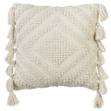 Ivory Diamond Bobble Pillow with Tassels
