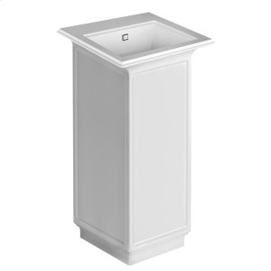 """Freestanding washbasin in Cristalplant® with overflow waste Matte white L 16-9/16"""" W 16-9/16"""" H 35-7/16"""" May be drilled on-site to fit single or 3 hole faucet Wall drainage Grille-plug and syphon included CSA certified Product Image"""