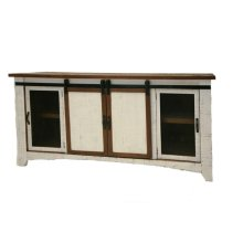 """Terra White 60"""" TV Stand W/Sliding Doors"""