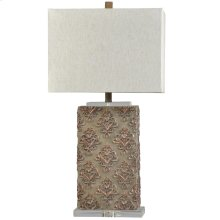 L315804  Stowe Grey  Traditional  Moulded and Crystal Table Lamp  100W  3-Way  Hardback Shade