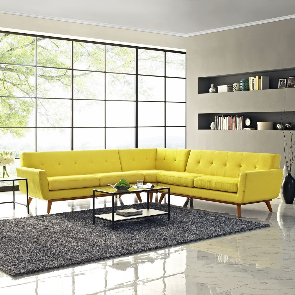 Engage L-Shaped Sectional Sofa in Sunny