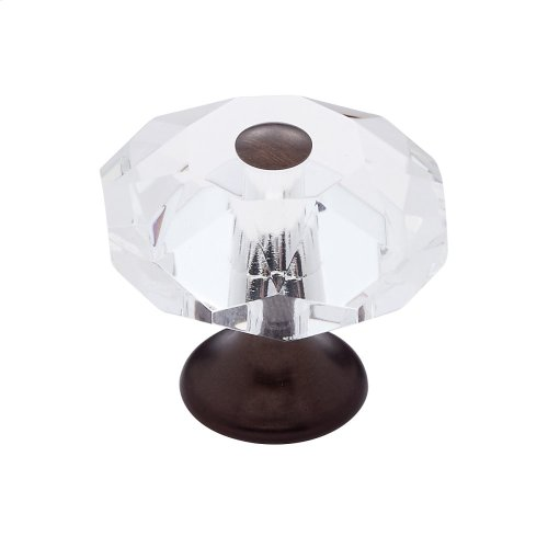 Old World Bronze 35 mm 8-Sided Crystal Knob