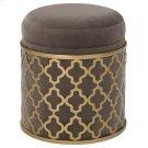 Taj Velvet Fabric Round Storage Ottoman, Serene Dark Gray/Gold Product Image