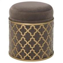 Taj Velvet Fabric Round Storage Ottoman, Serene Dark Gray/Gold
