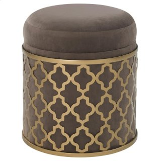 Taj Velvet Fabric Round Storage Ottoman, Serene Dark Gray/Gold