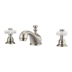 Marsala Widespread Lavatory Faucet with Porcelain Cross Handles - Brushed Nickel Product Image