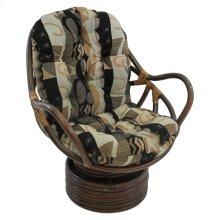 Bali Rattan Swivel Rocker Chair with Jacquard Chenille Cushion - Walnut/Elysian Fields