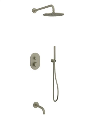 Rain Head + Hand Held Shower + Tub Spout RND - Brushed Nickel Product Image