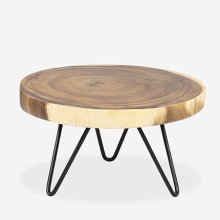 "11"" Round Wooden Teak Riser with Iron Base - Large (K/D)"
