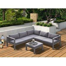 Renava Coastal Outdoor Grey Sectional Sofa & Coffee Table Set