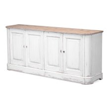 Antique White Wash Sideboard, 4 Door