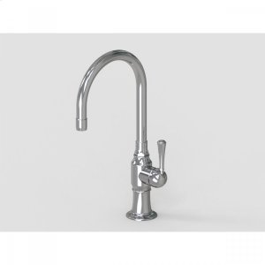 "Brushed Stainless - 7"" Swivel Deck Mount Single Hole Bar Faucet Spout with Right Metal Traditional Lever Product Image"