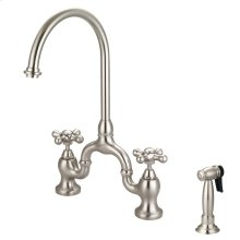 Banner Kitchen Bridge Faucet with Metal Cross Handles - Brushed Nickel