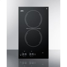 220v Two-burner Cooktop In Black Ceramic Glass, Made In Europe