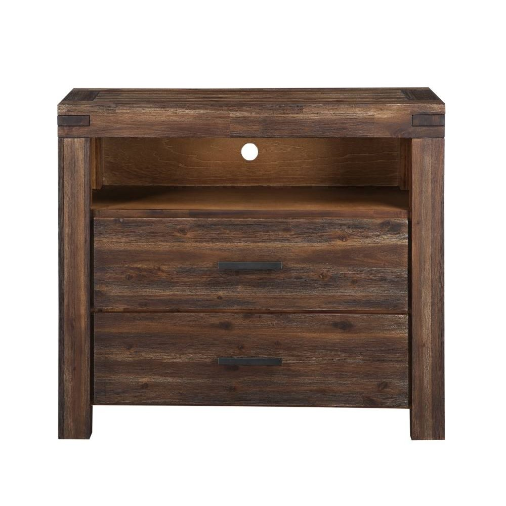 Meadow Media Chest with Brick Brown Finish