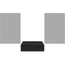 Black- A pair of architectural speakers and a powerful amplifier for focused listening.