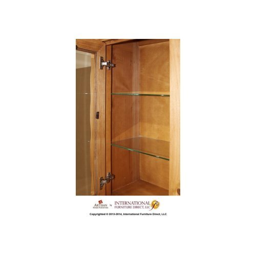 "70"" Hutch w/2 glass doors, 2 drawers"