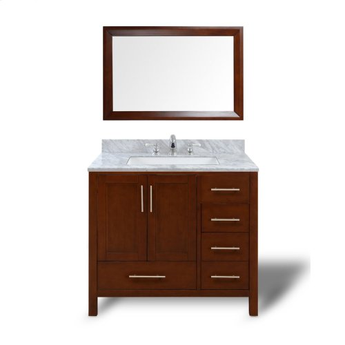 Espresso MALIBU 36-in Single-Basin Vanity Cabinet with Carrara Marble Stone Top and Muse 20x13 Sink