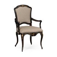 Black & Gilded Floral Chair (Arm)