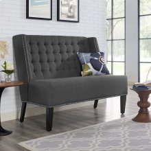 Achieve Upholstered Fabric Settee in Gray