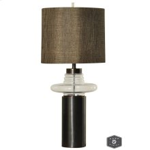 PRAGUE TABLE LAMP  Dunbrook Finish on Metal Body with Clear Glass  Hardback Shade  150 Watt  3-W