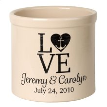Personalized Love Anchor Crock - Bristol Crock with Black Etching