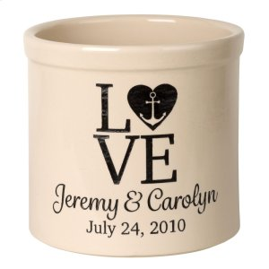 Personalized Love Anchor Crock - Bristol Crock with Black Etching Product Image