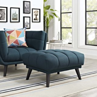 Bestow Upholstered Fabric Ottoman in Blue
