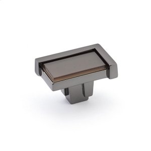 "Tallmadge, Knob, Rectangle, 1-3/4"" x 1-1/8"" Black Nickel, Light Bronze Glass Product Image"