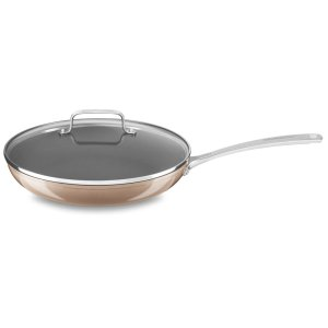 """12"""" Hard Anodized Non-Stick Skillet with lid - Toffee Delight"""