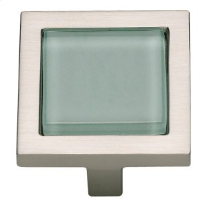 Spa Green Square Knob 1 3/8 Inch - Brushed Nickel Product Image