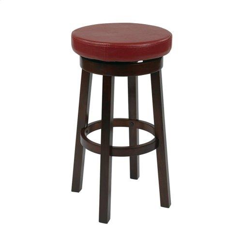 "Metro 30"" Metro Round Barstool In Crimson Red Faux Leather"