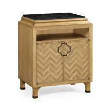 Natural Oak Nightstand with Marble Top