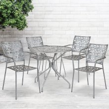 "Agostina Series 31.5"" Round Antique Silver Indoor-Outdoor Steel Patio Table with 4 Stack Chairs"