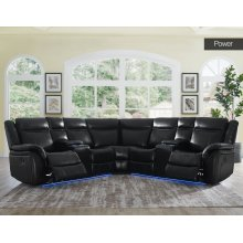 Power reclining sectional with power reclining seats, USB & Led Lights